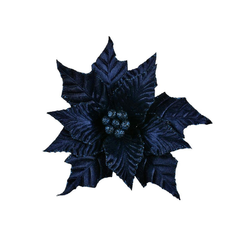 Navy Velvet Poinsettia Clip | Putti Christmas Decorations