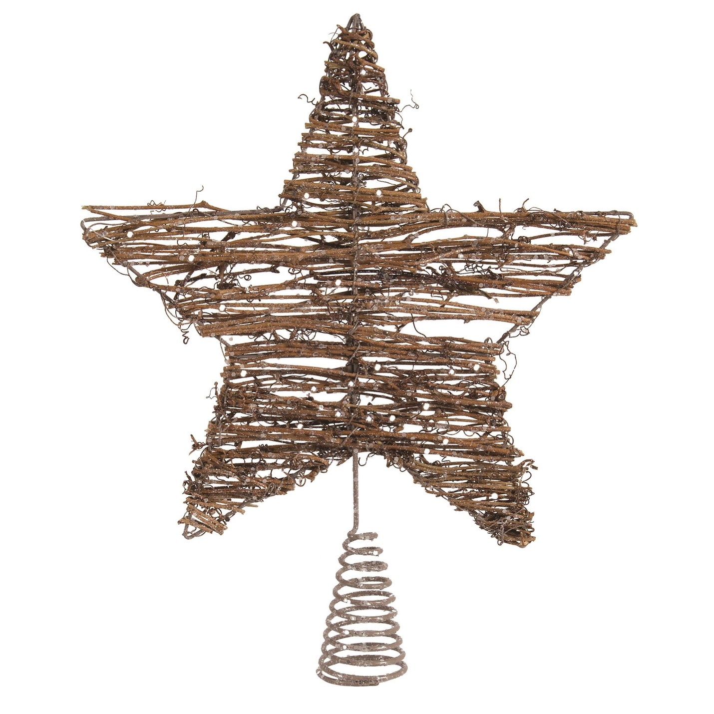 Natural Glittered Twig Star Christmas Tree Topper