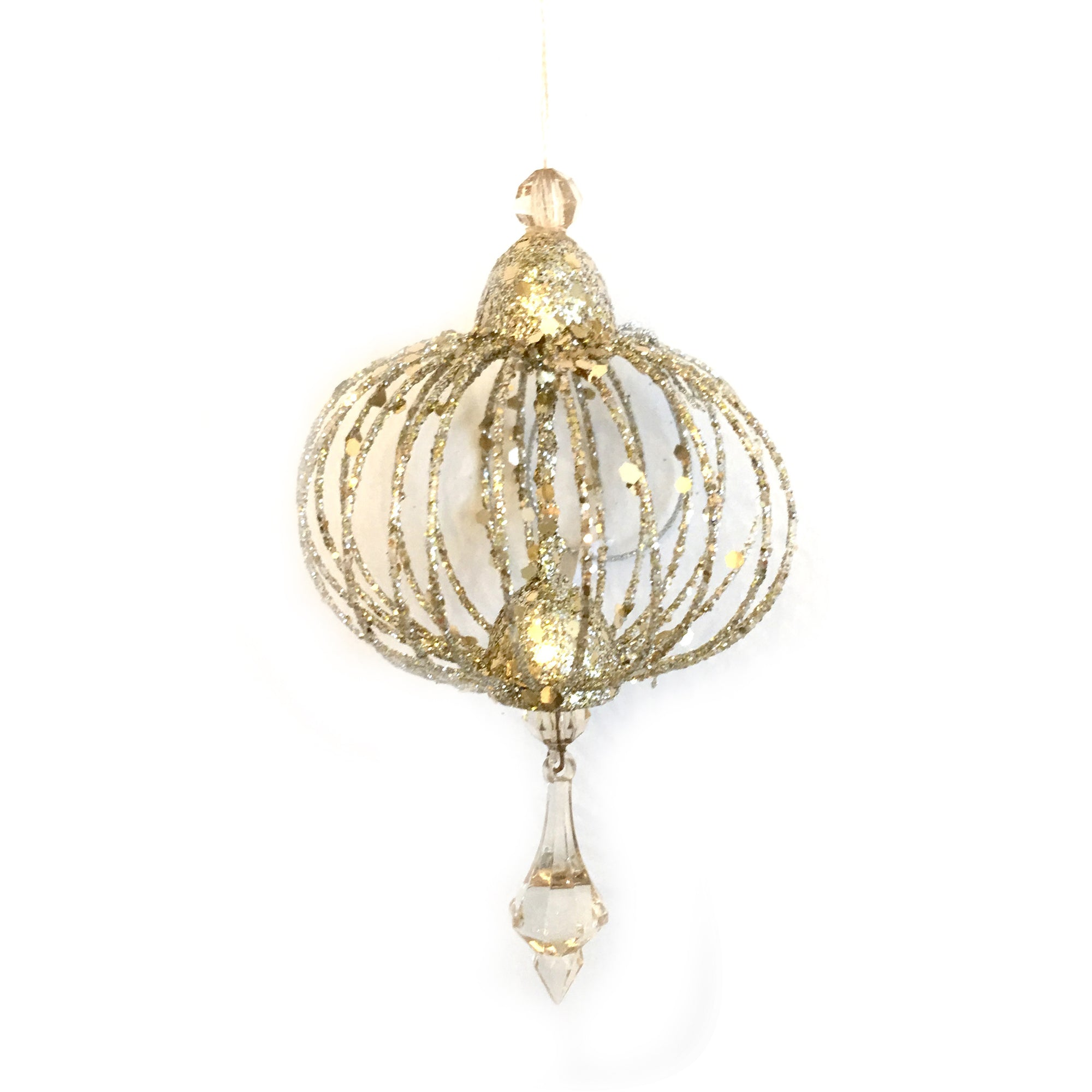 Jim Marvin Champagne Gold Wire Finial Ornament, JM-Jim Marvin, Putti Fine Furnishings