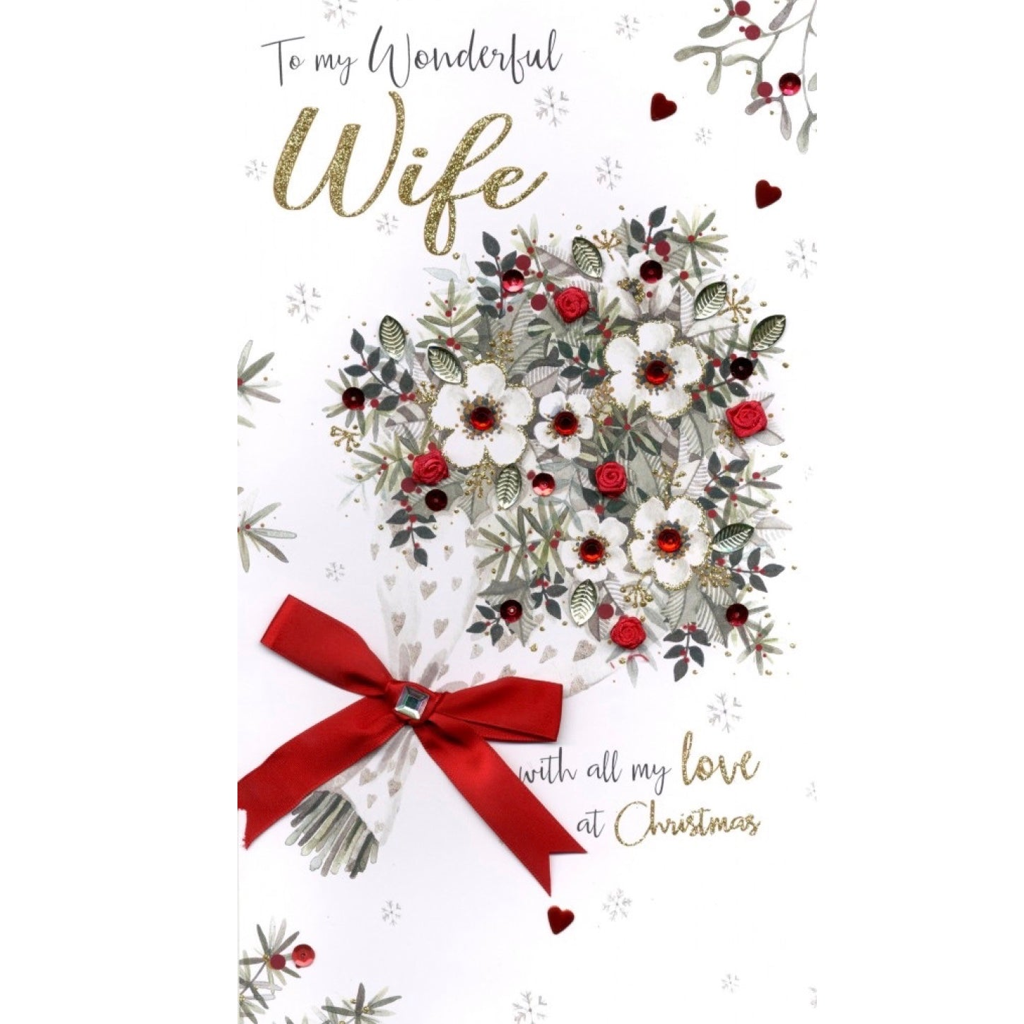 """To my Wonderful Wife"" Bouquet Luxury Christmas Greeting Card"