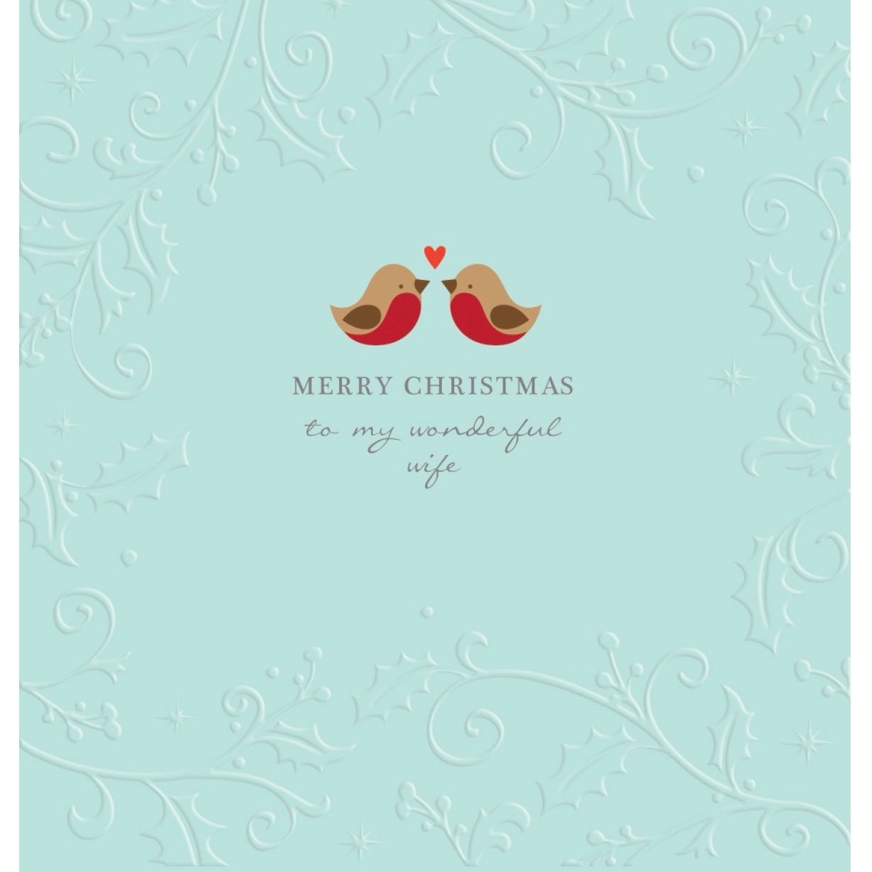 """Merry Christmas to my Wonderful Wife"" Birds Greeting Card"