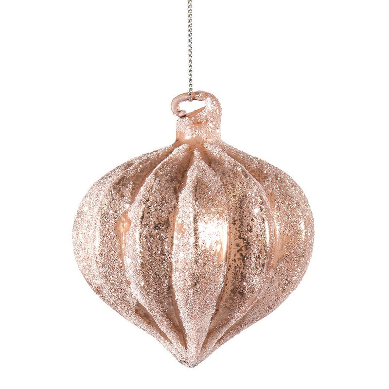 Iced Blush Pink Onion Ornament