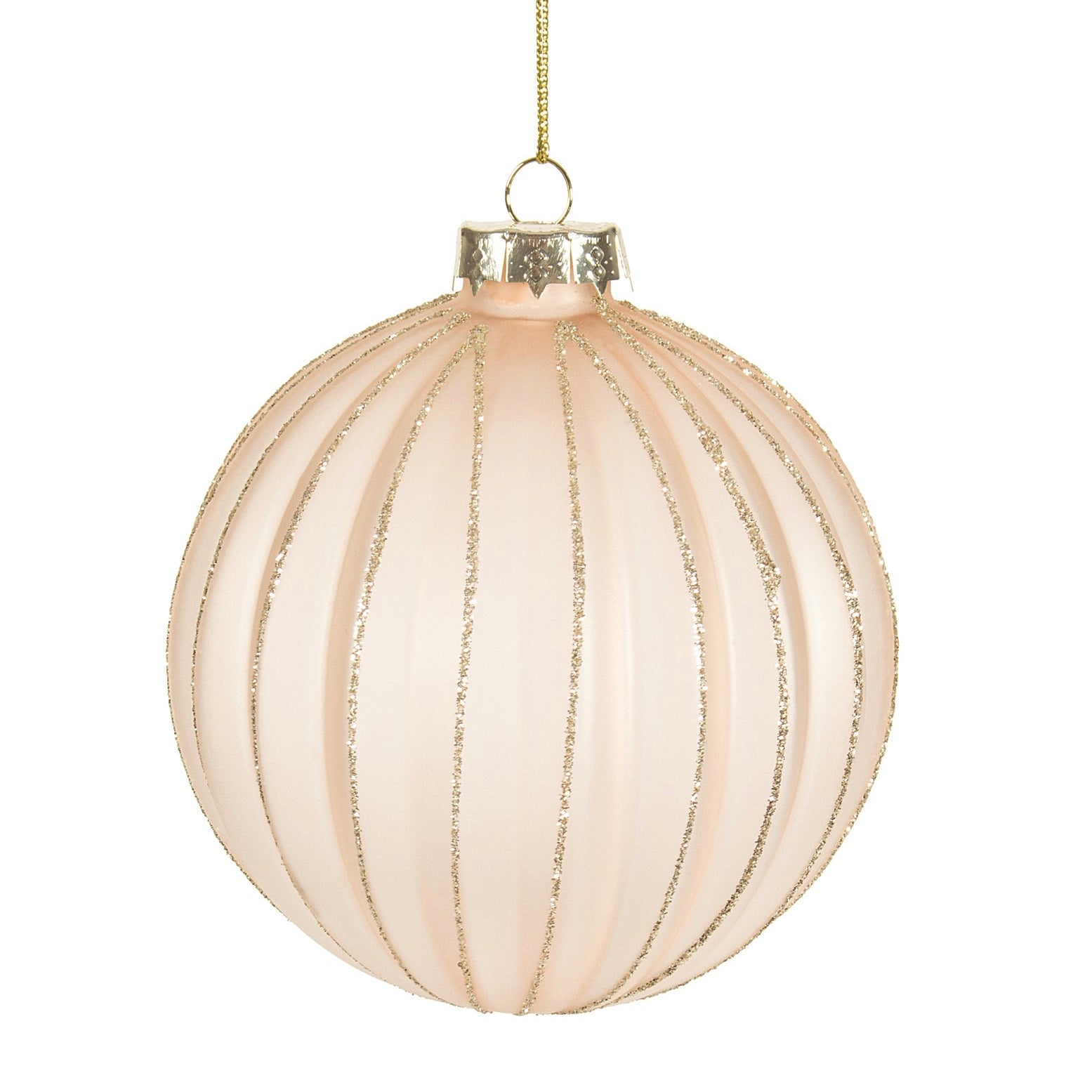 Frosted Blush Pink Ribbed Glass Ball Ornament