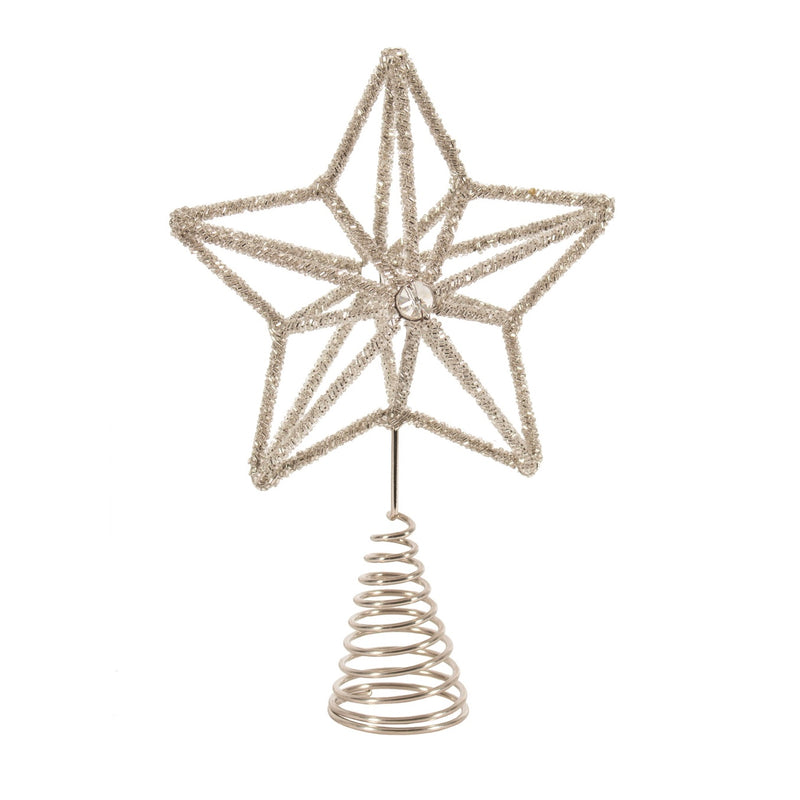 Silver Beaded Star Christmas Tree Topper  | Putti Christmas