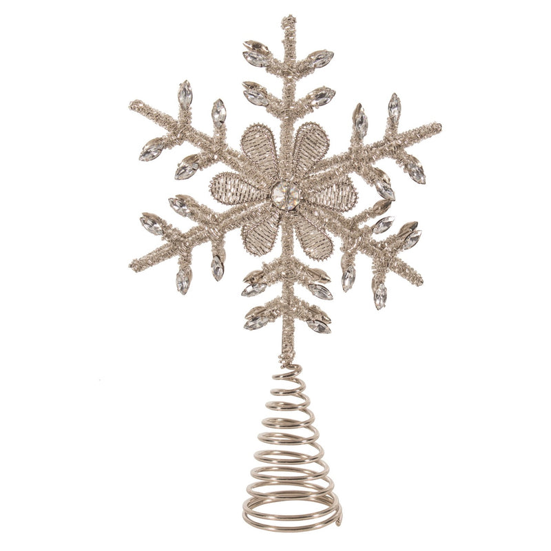 Silver Beaded Snowflake Christmas Tree Topper | Putti Christmas