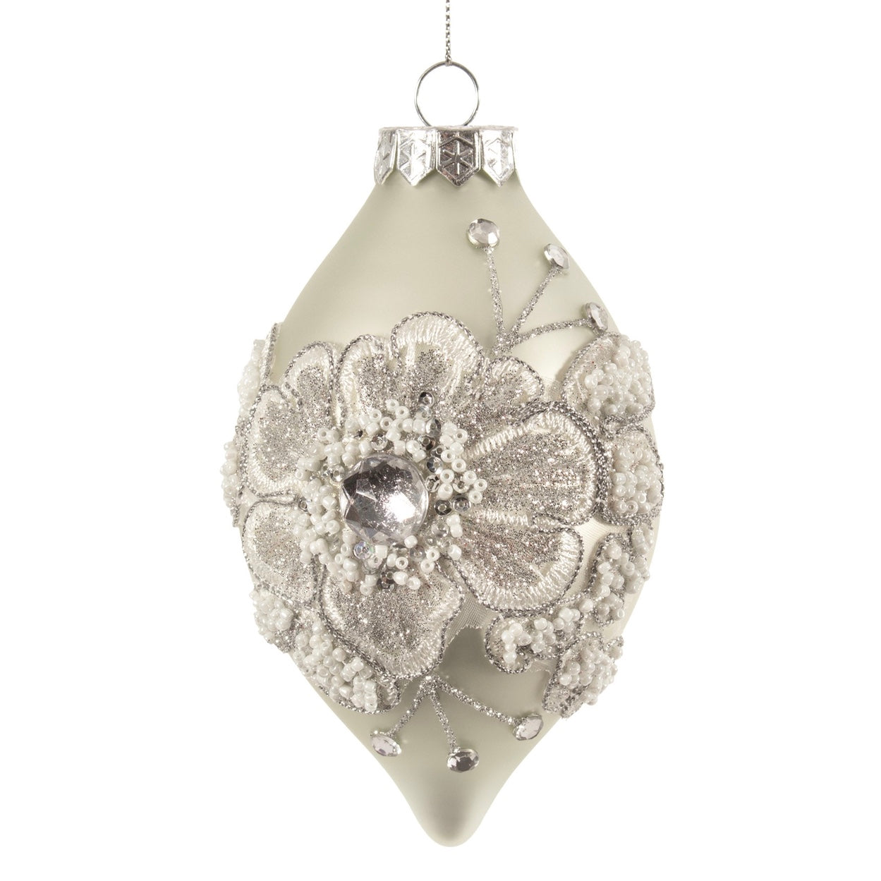 Matte Silver with Lace Flowers Glass Drop Ornament  | Putti Christmas Decorations Canada