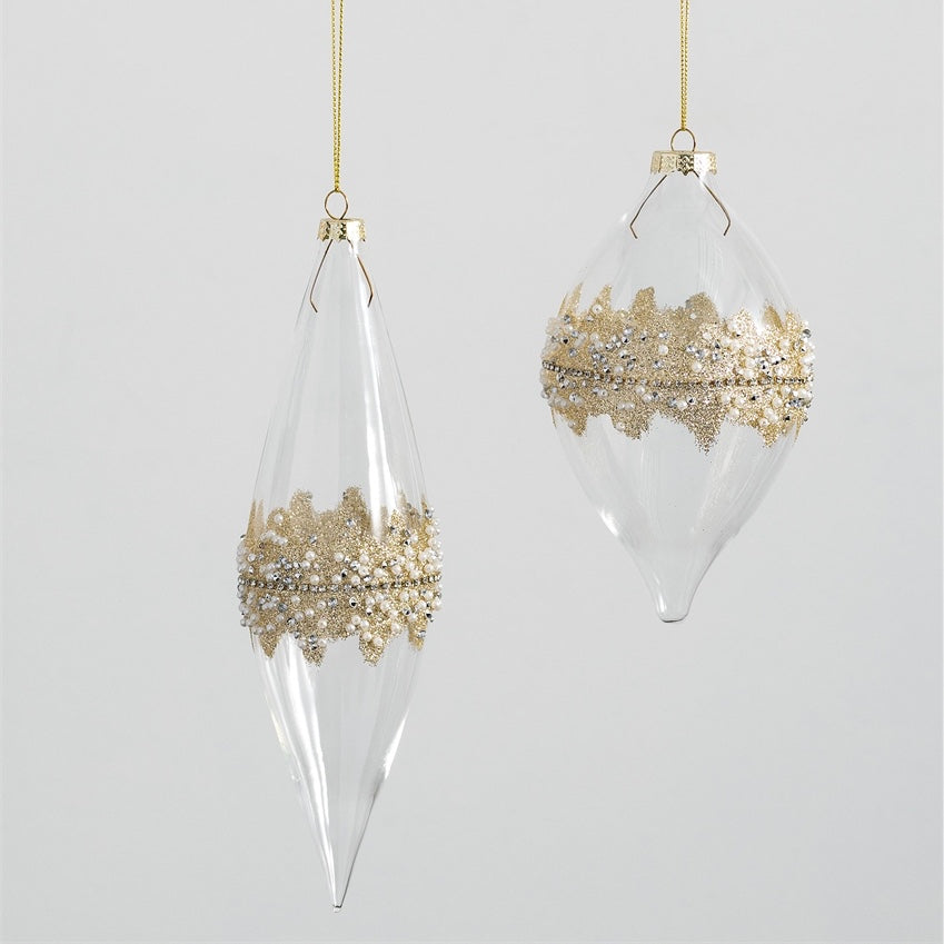 Clear with Gold Beaded Glass Drop Ornament | Putti Christmas Decorations