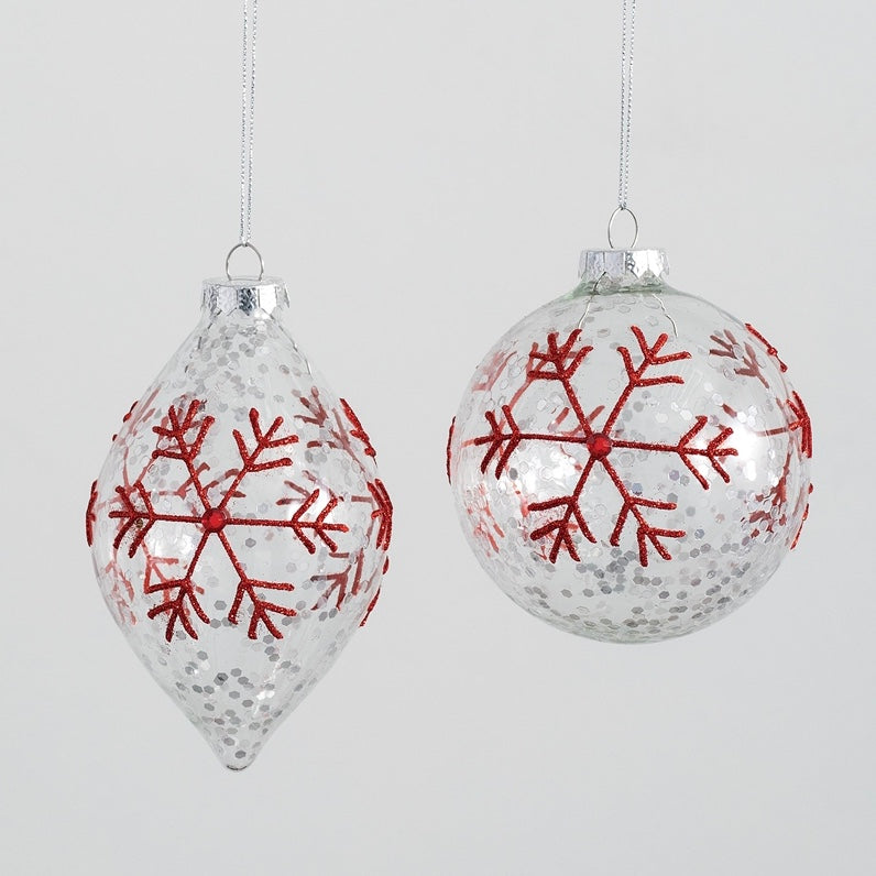 Clear with Red Snowflakes Glass Ornaments  | Putti Christmas Decorations