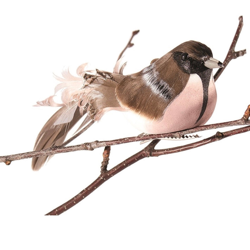 Natural and Blush Pink Feather Bird with Clip  | Putti Christmas Decorations Canada