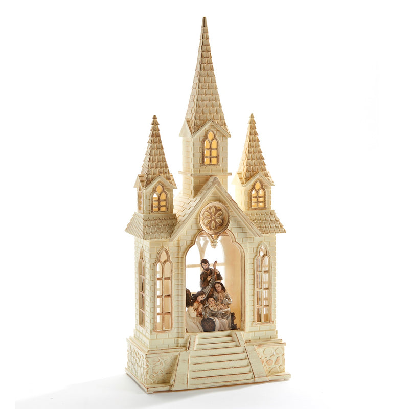 Perpetual LED Church Water Lantern with Nativity Scene | Putti Christmas Celebrations