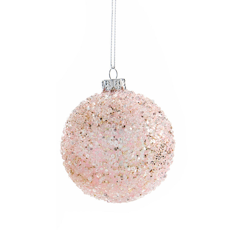 Pink Glittered Beaded Sequin Glass Ball Ornament | Putti Christmas Celebrations