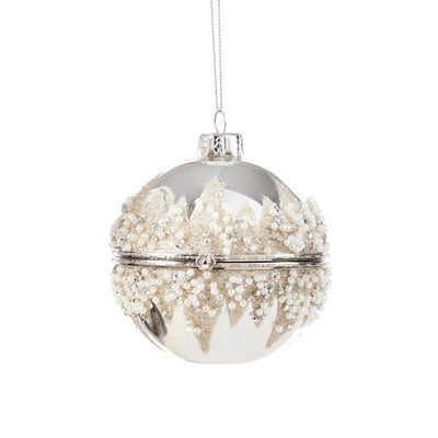 Clear with Champagne Gold Glitter and Pearls Trinket Box Ornament | Putti Christmas