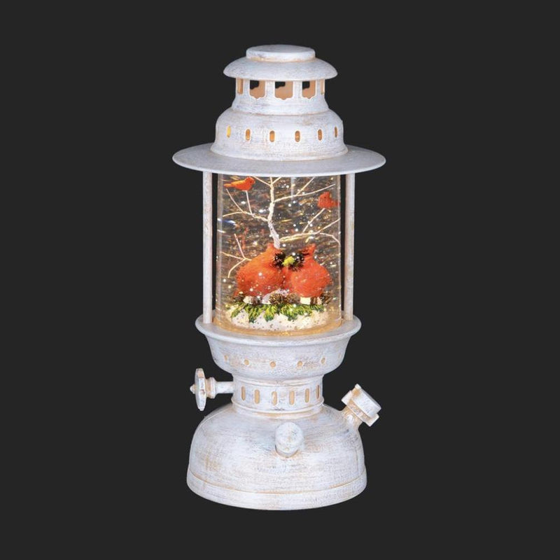Perpetual Snow White Oil Lamp with Cardinal | Putti Christmas Shop