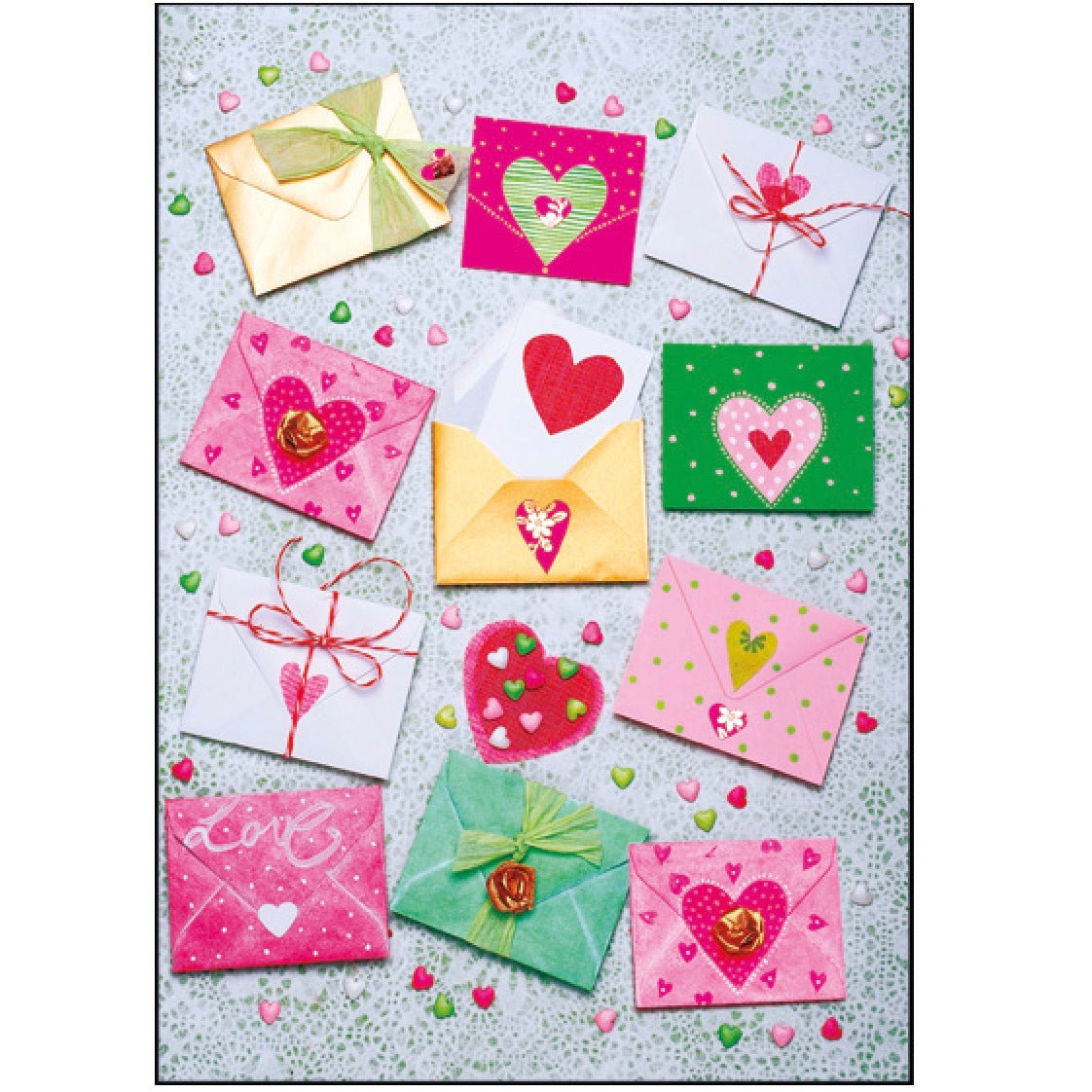 Envelopes with Hearts Greeting Card | Putti Celebrations