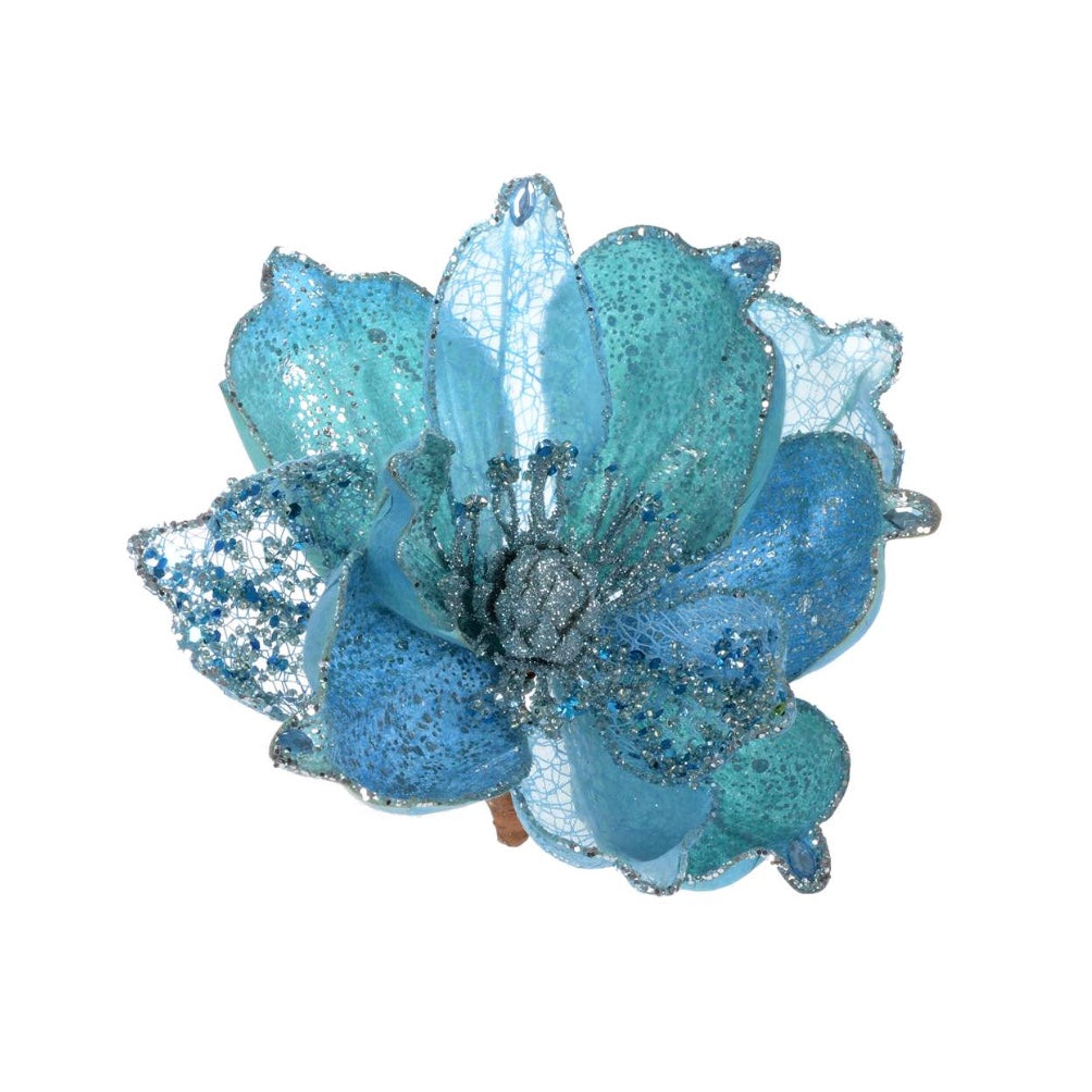 Glacier Blue Magnolia with Clip | Putti Christmas Decorations