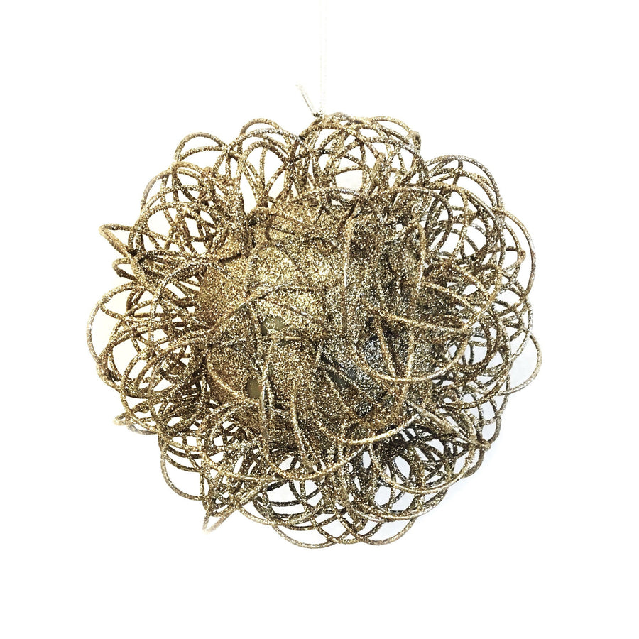 Jim Marvin Glitter Wire  Ball Ornament - Champagne Gold