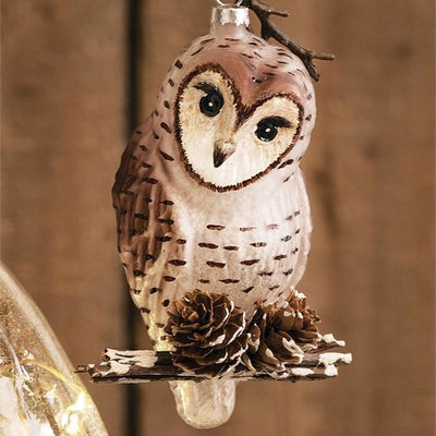 Owl on Branch Glass Ornament  | Putt Christmas Decorations