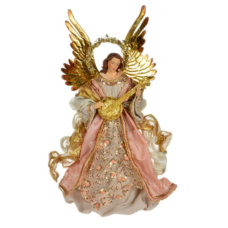 Rose Gold Angel with Mandolin Tree Topper | Putti Christmas Celebrations
