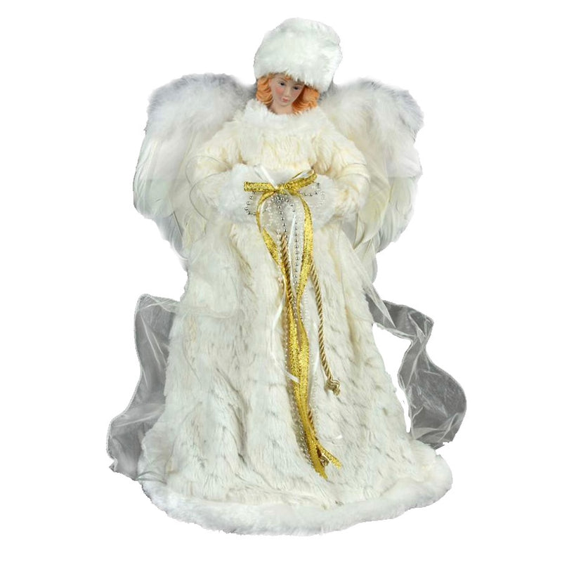 White Angel with Fur Gown and Muff Tree Topper