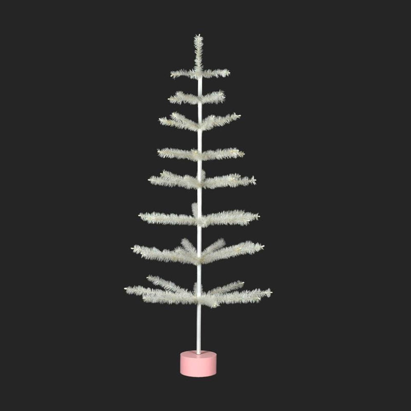 White Feather Tree on Stand | Putti Christmas Decorations
