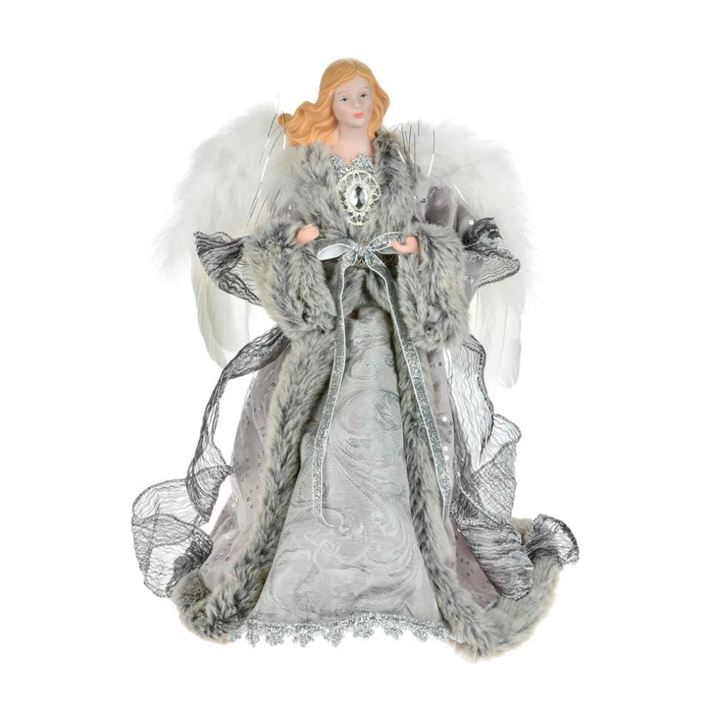 Silver with Grey Fur Trim Angel Tree Topper | Putti Christmas Decorations