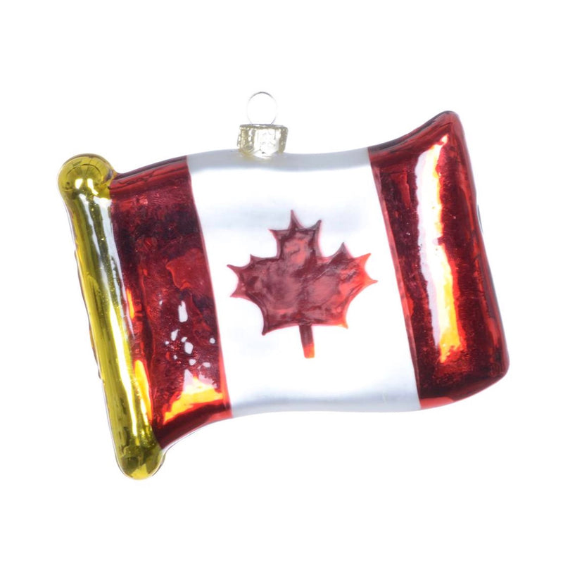 Canadian Flag Glass Christmas Ornament | Putti Canada