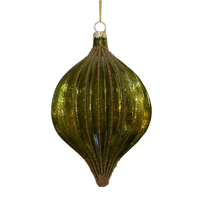 Mottled Green Ridged Glass Ball Ornament | Putti Christmas Decorations
