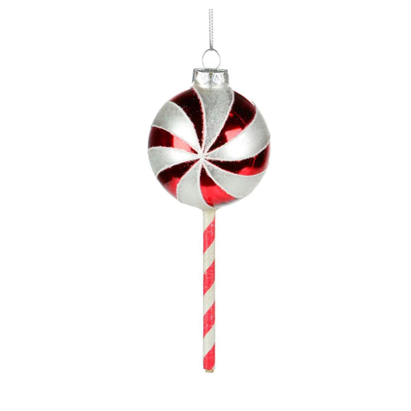 Red and White Stripe Glass Lollipop Ornament | Putti Christmas Decorations