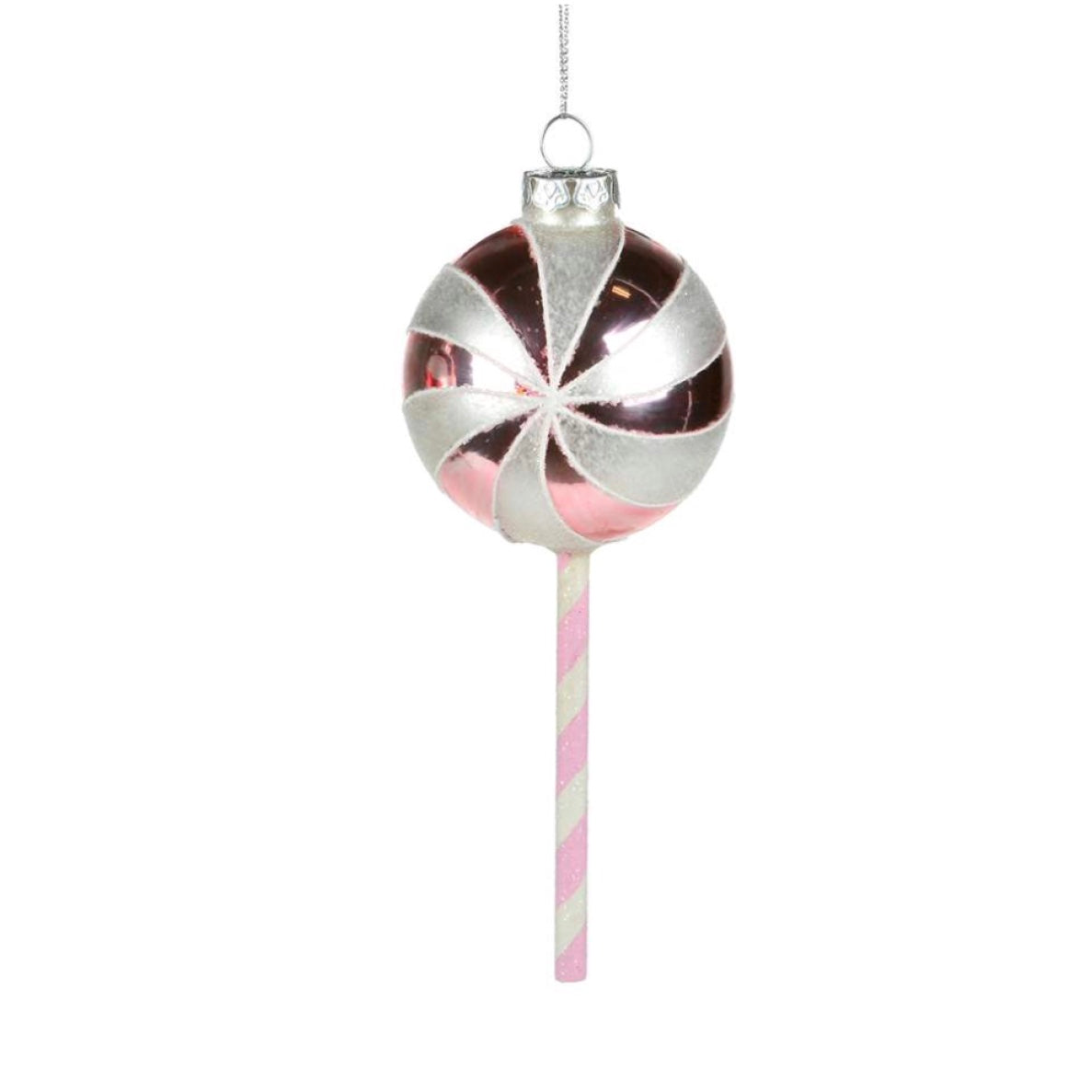 Pink and White Stripe Glass Lollipop Ornament