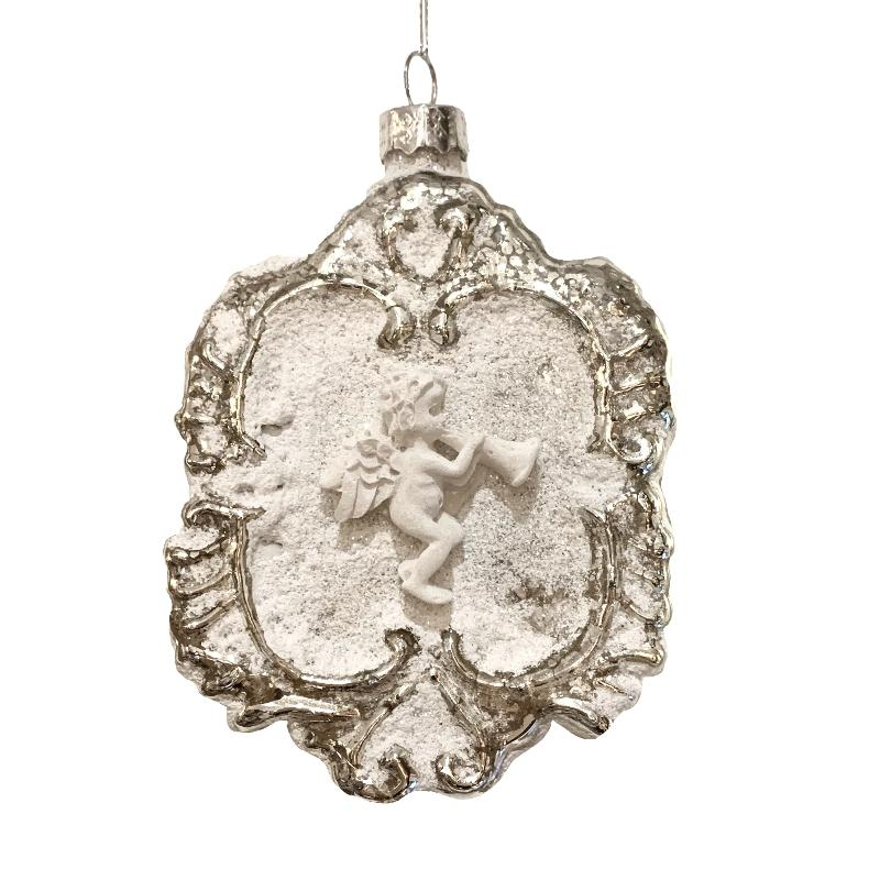 Matte White Cherub Medallion Ornament - Putti Christmas Canada