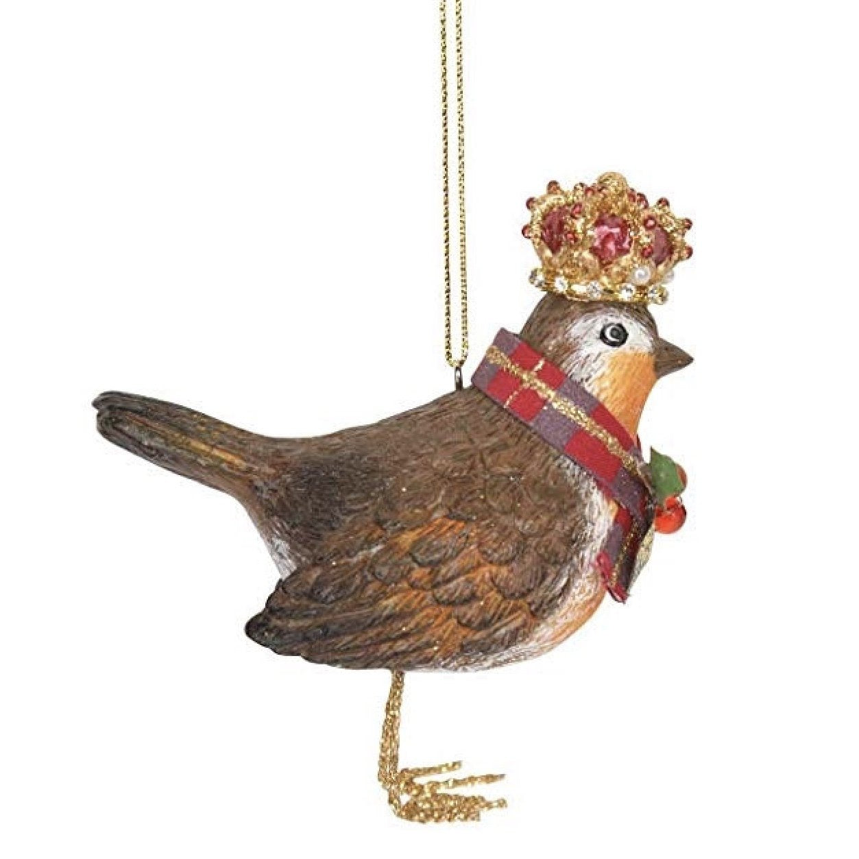 Royal Balmoral Resin Robin with Crown Ornament | Putti Christmas Canada
