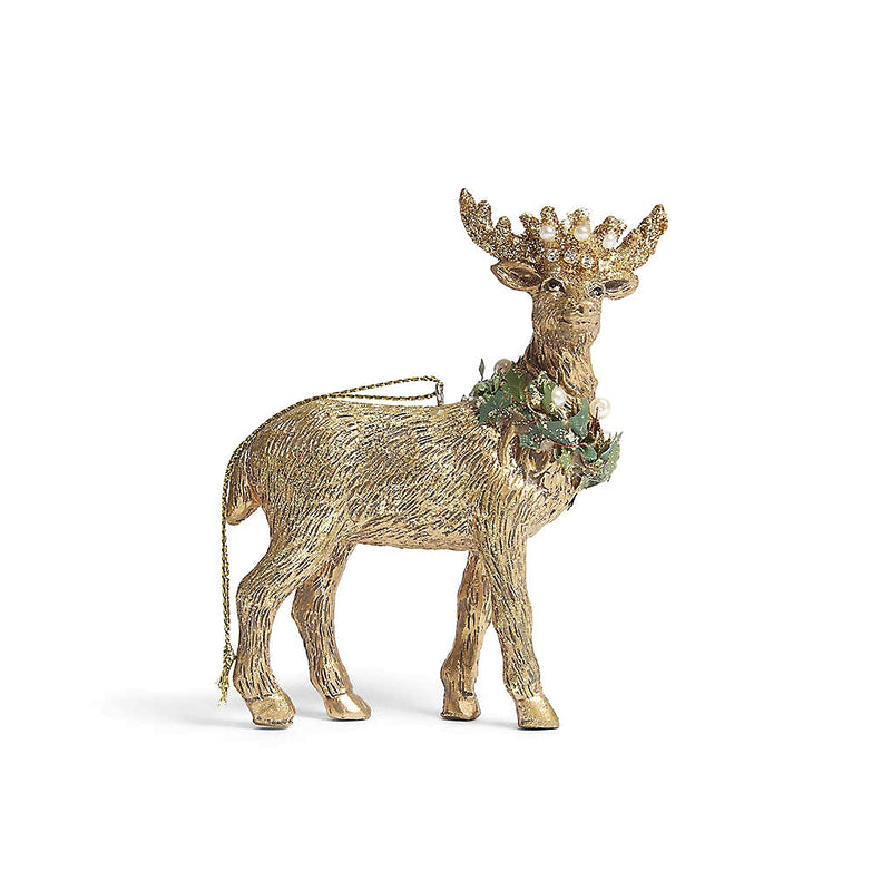 Royal Balmoral Gold Resin Stag with Crown Ornament