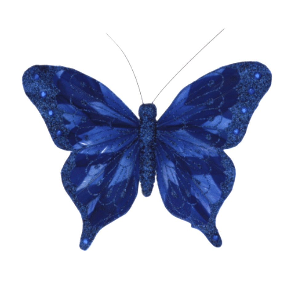 Blue Feather Butterfly with Clip