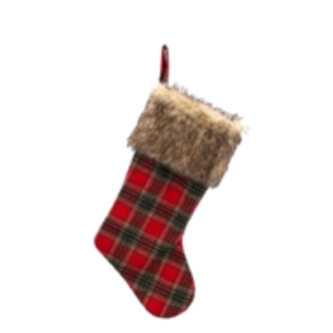 Plaid with Fur Cuff Christmas Stocking | Putti Fine Furnishings