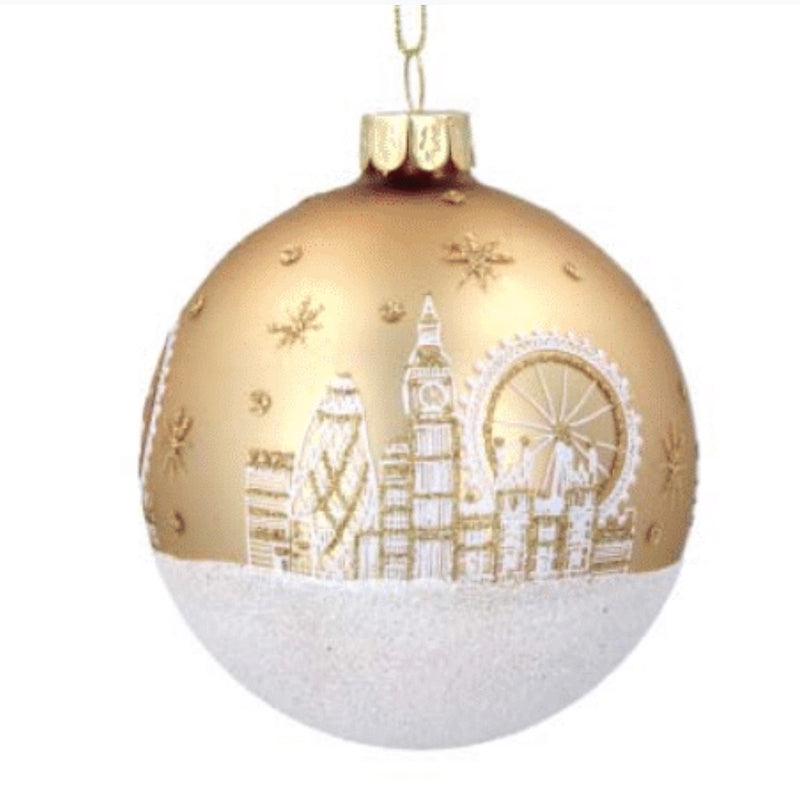 """London Scene"" Gold Glass Ball Ornament 