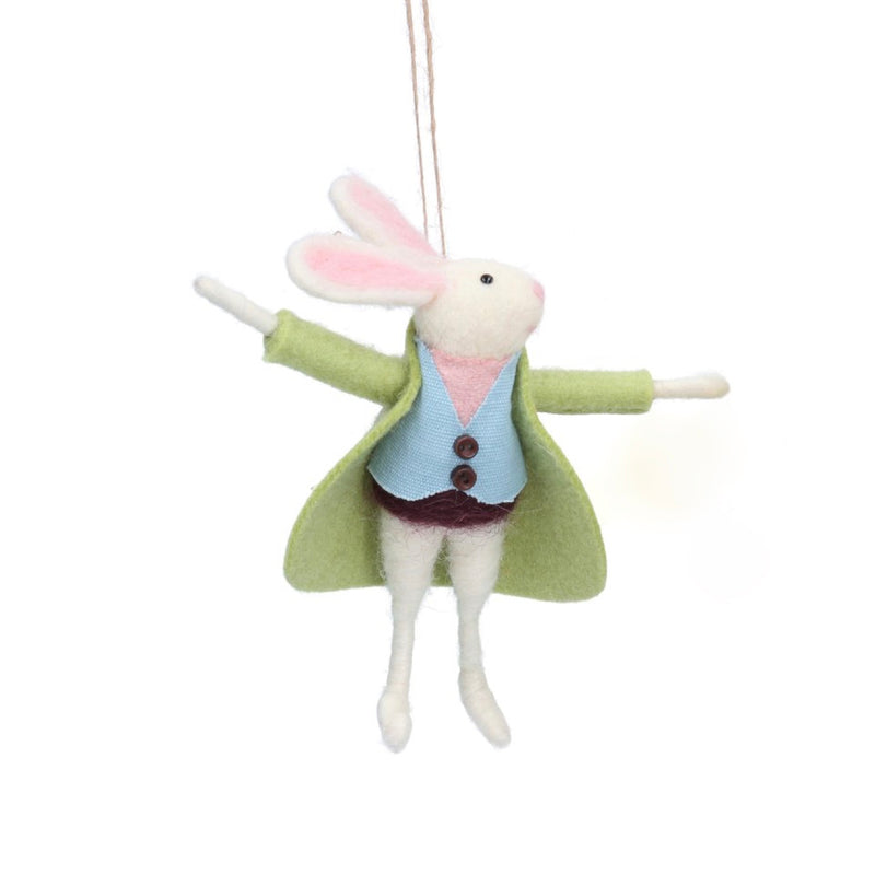 Mr Bunny with Green Coat Felt Ornament