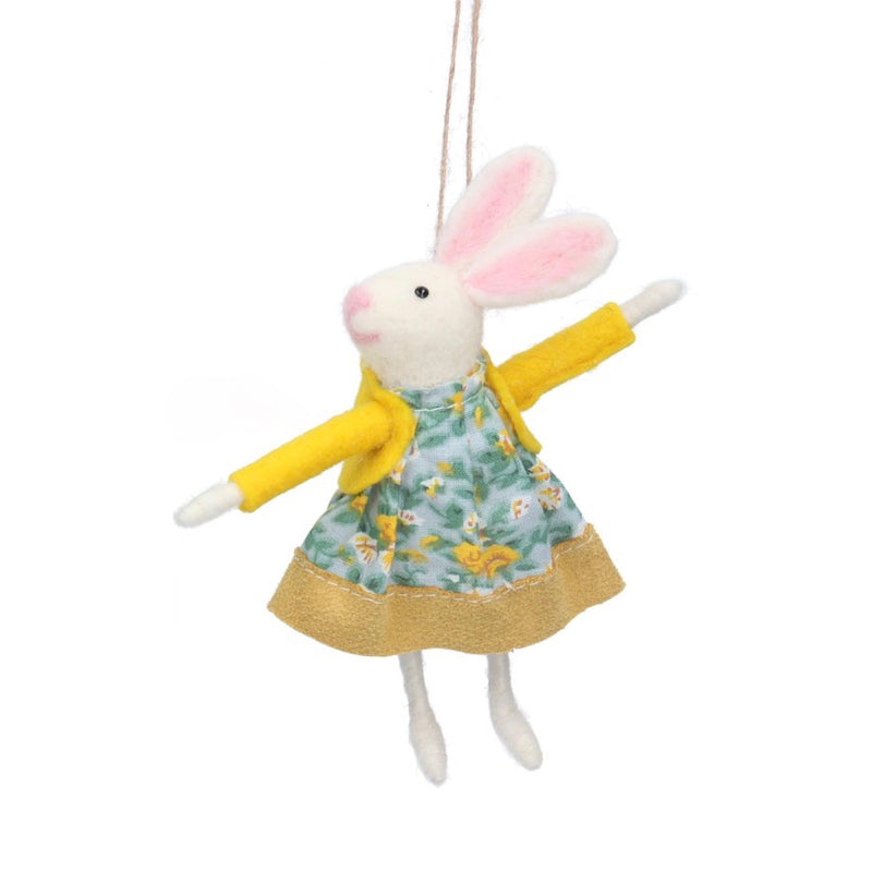 Mrs Bunny with Yellow Dress Felt Ornament | Putti Decorations