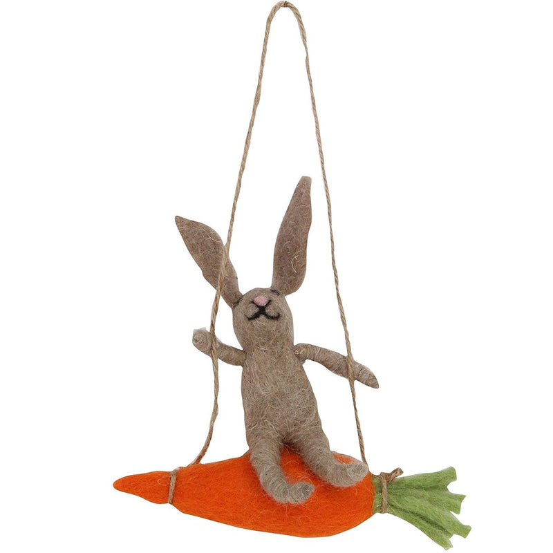Brown Bunny on Carrot  Felt Ornament | Putti Decorations