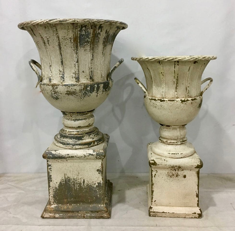 Metal Urns with Distressed White Finish