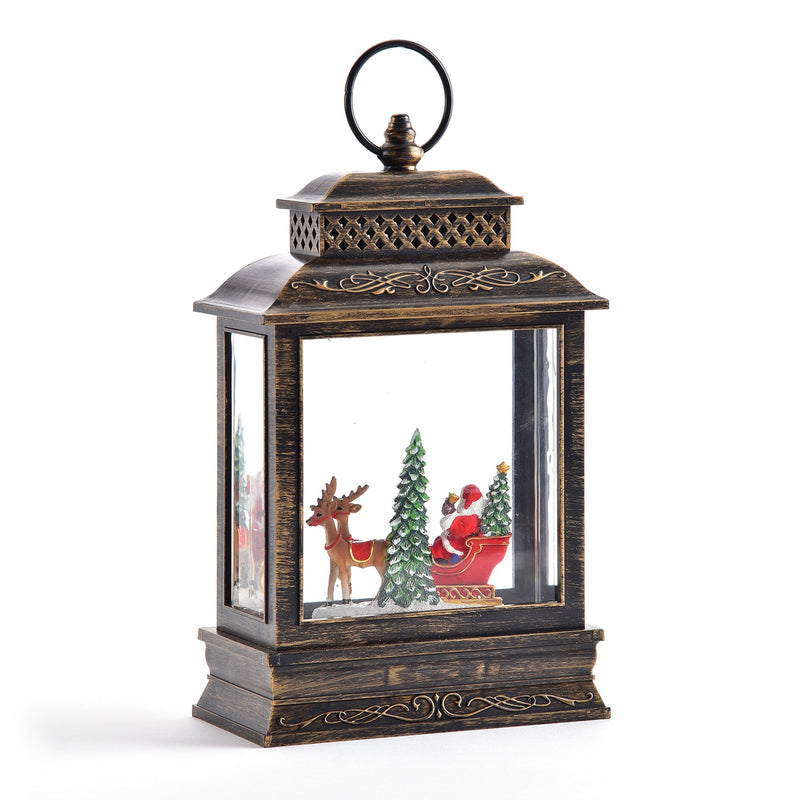 Perpetual Lantern with Santa Sleigh and LED Light