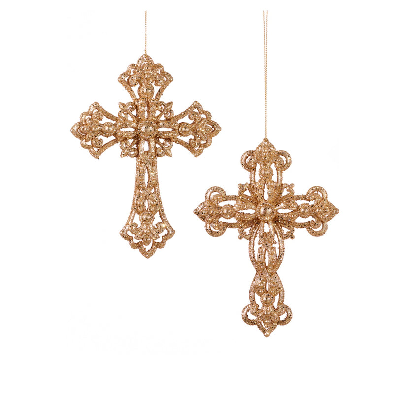 Gold Glitter Cross Ornament | Putti Christmas Celebrations