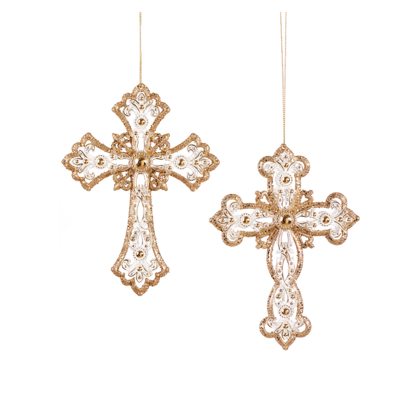 Gold and Silver Glitter Cross Ornament | Putti Christmas Celebrations