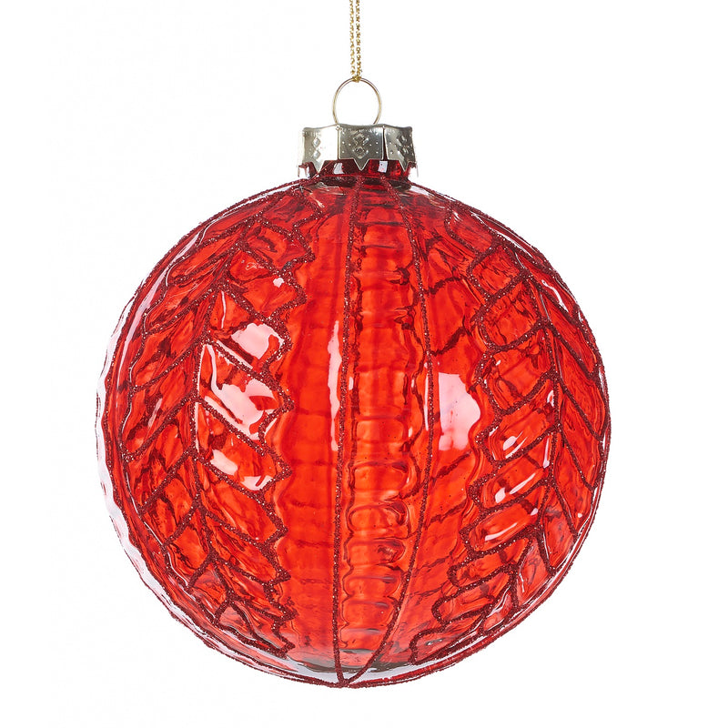 Glossy Red with Glitter Glass Ball Ornament | Putti Christmas Decorations