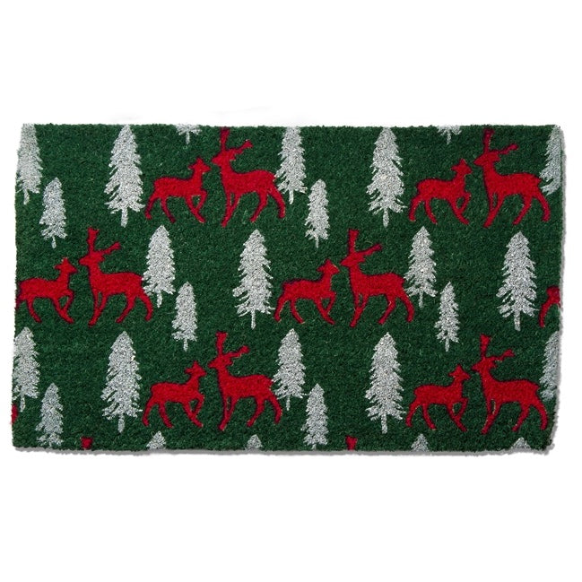Joyful Reindeer and Tree Coir Doormat