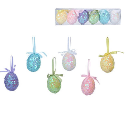 Gisela Graham Pastel Sequin Eggs - set of 6 | Putti Easter Decorations