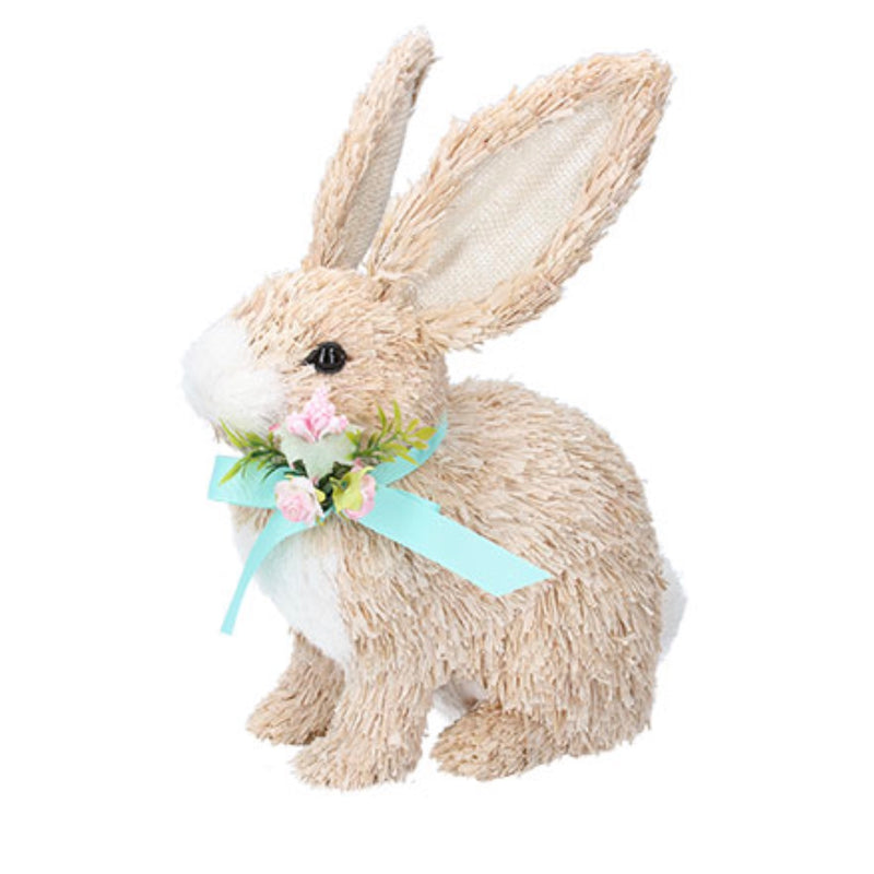 Crouching Bristle Straw Bunny with Bow | Putti Easter Decorations