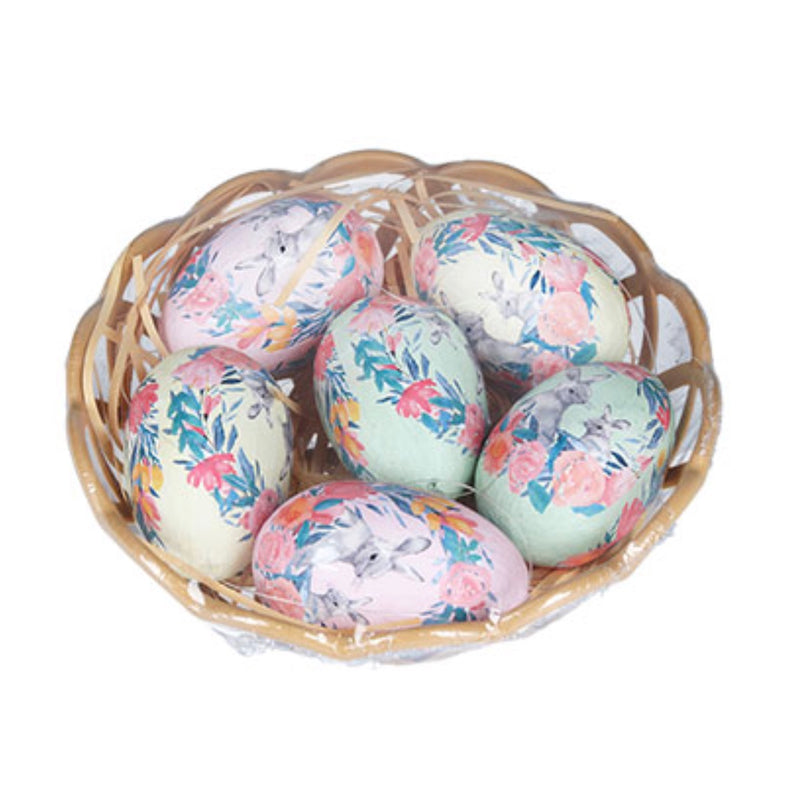 Paper Mache Eggs in Basket - set of 6 | Putti Easter Decorations