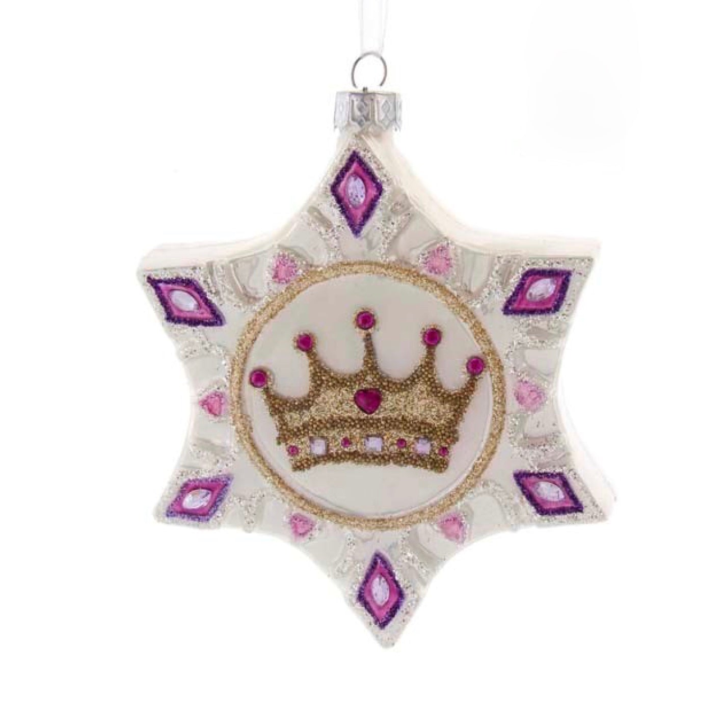 Kurt Adler Royal Splendor Snowflake with Crown Glass Ornament