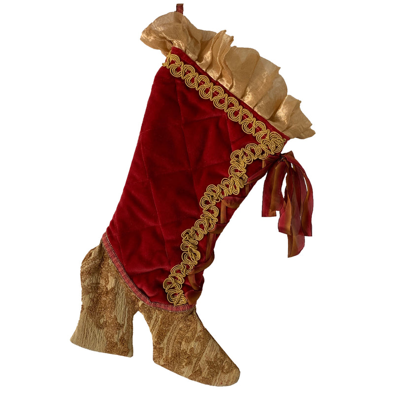 Red Velvet Christmas Stocking with Gold Brocade | Putti Christmas Celebrations