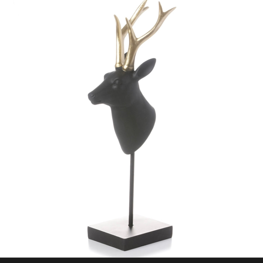 Black & Gold Deer Head with Base